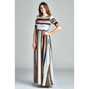 🎈NEW LISTING! Spicy Mix Aliza Striped Maxi Dress